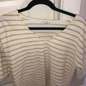 Jane ans Delancy Sweaters - Jane and Delancy Yellow and White Top